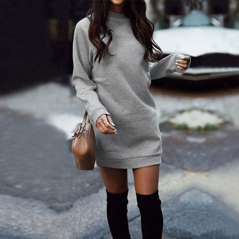 Fashion Round Neck Long Sleeve Solid Color Thickened Dress