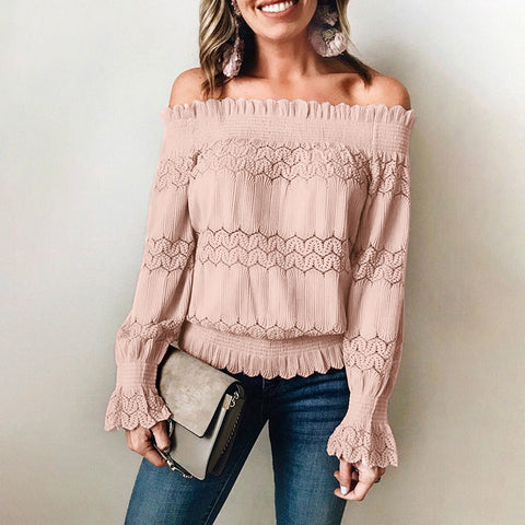 Casual Boat Neck Long Sleeve Blouse