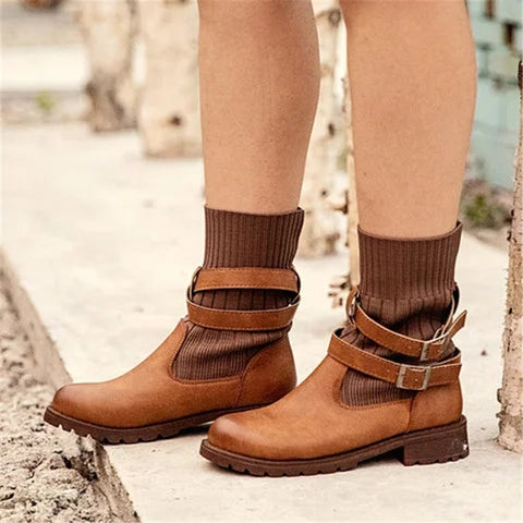 Women's fashion solid color wool stitching short boots