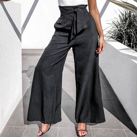 Fashion high waist strap with solid color pocket wide leg pants
