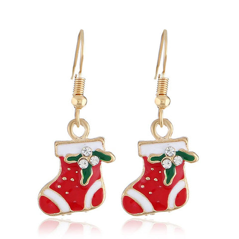 Sleek Minimalist Christmas Stockings Pendant Earrings