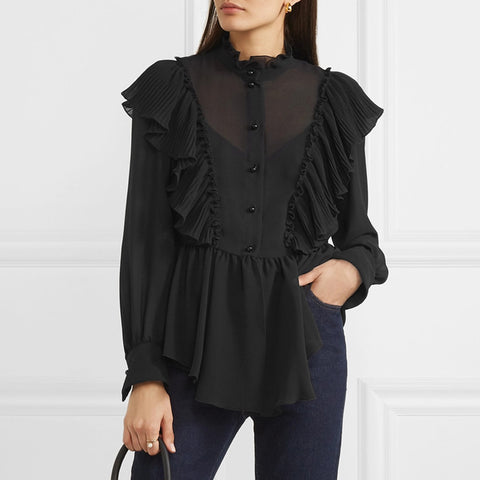 Fashion Black Single-breasted Long-sleeved Shirt