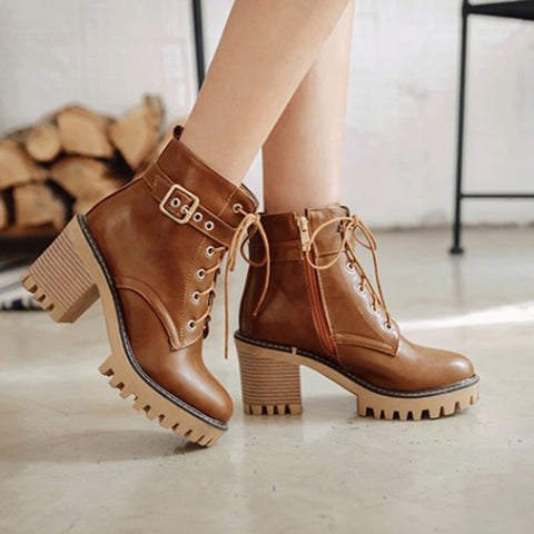 Casual Ladies Side Zipper Lace-up Martin Boots
