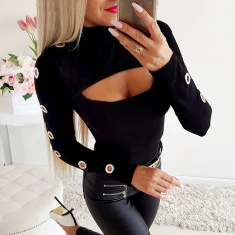 Women's Sexy Deep Cutout Black Slim T-Shirt