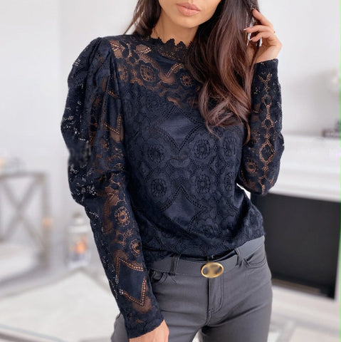 Women's Sexy Hollow Lace Panel Wild Top