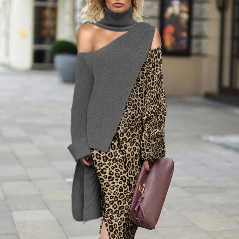 Fashion leopard stitching strapless long Sweater