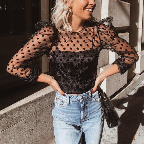 Sexy Mesh Dots Lace Hollow Out Shirt