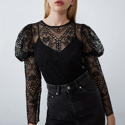 Fashion long sleeve hollowed out embroidered shirt