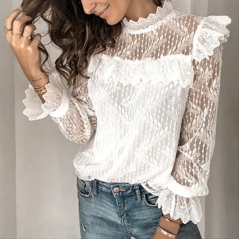 New Years lovely white lace blouse