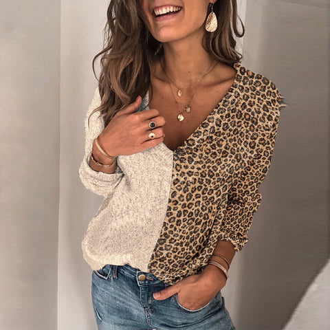 Fashion V-collar splicing leopard-print knitted sweater