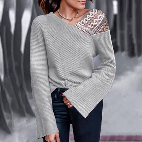 Women's fashion casual stitching lace sweater