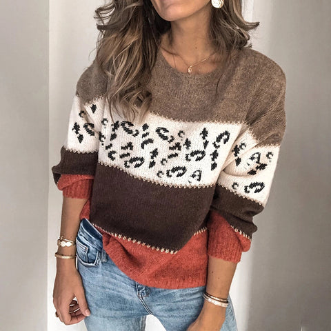 Casual Colorblock Leopard Sweater