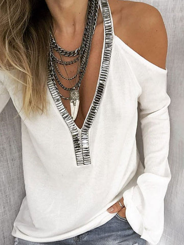 Sexy Deep V-Neck Solid Color Off-Shoulder Flare Sleeve Sequined Blouses