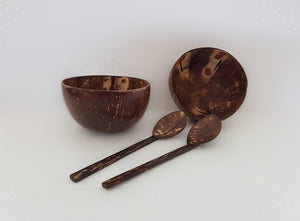 a set of 2 coconut bowls and spoons