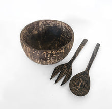 A set of a natural look bowl with utensils