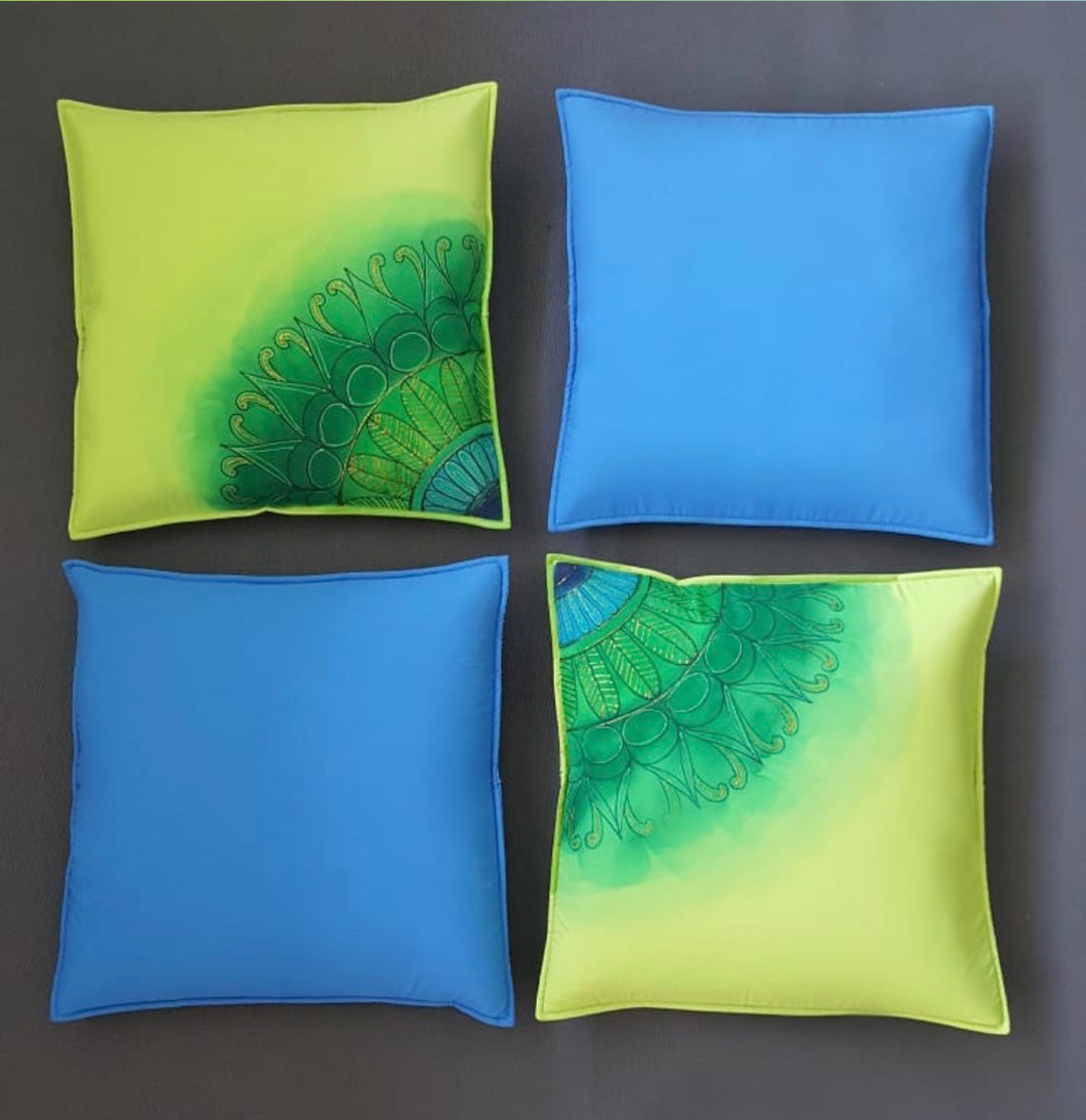 Hand Painted 'Proud as a Peacock' Cushion Cover Set