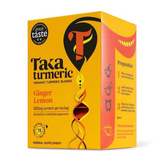 turmeric ginger tea with coconut and black pepper by taka turmeric