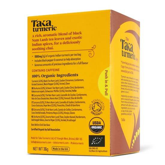 back of box for taka turmeric masala chai tea bags