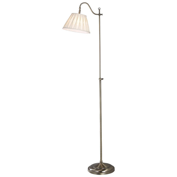 Suffolk Floor Lamp Rise & Fall Antique Brass Ca Shade SUF1433 by Dar Lighting