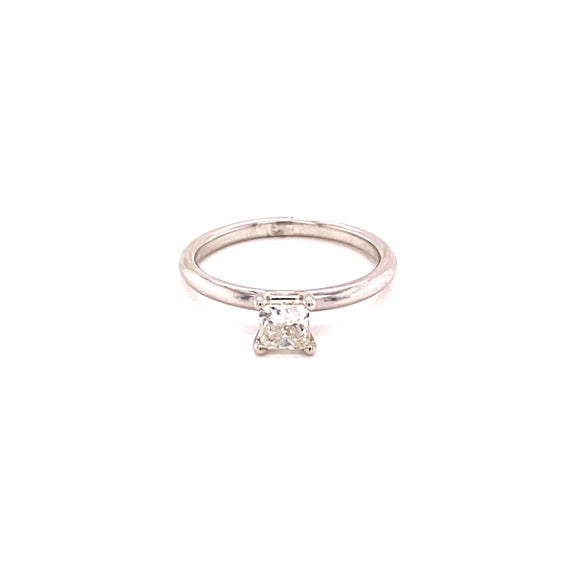 14K White Gold 0.58CTW Solitaire princess Diamond Ring