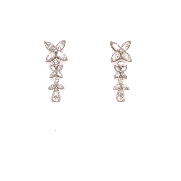 18k White Gold 1.95ctw Flower Drop Earrings