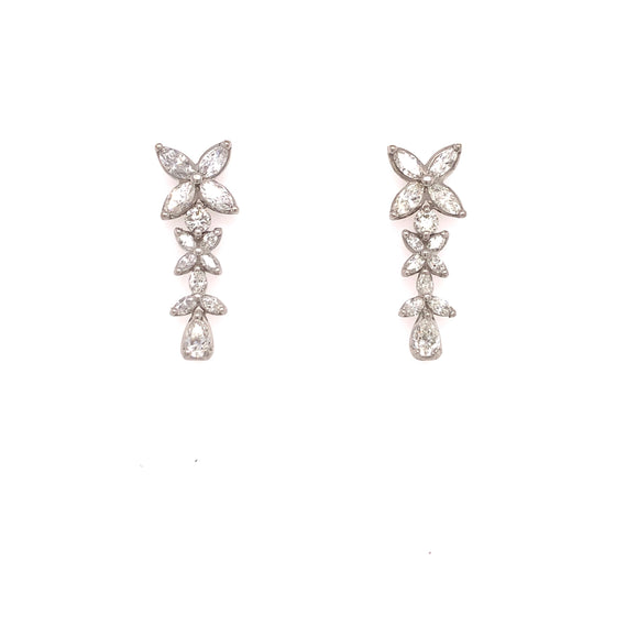 18K White Gold 1.95CTW Diamond Flower drop earring
