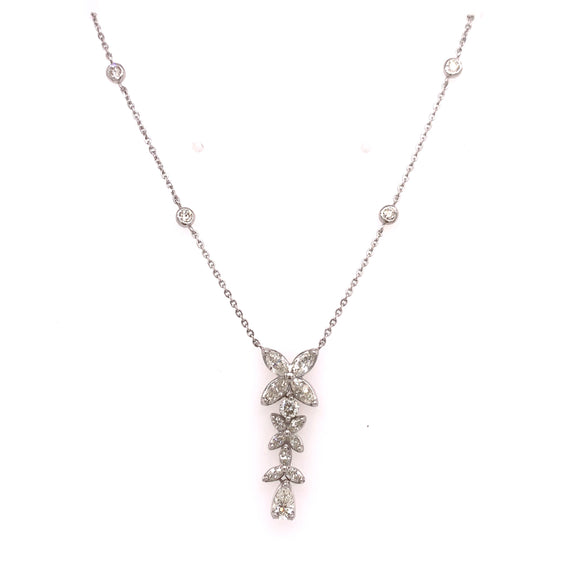 18k White Gold 1.20ctw Diamond Flower drop necklace