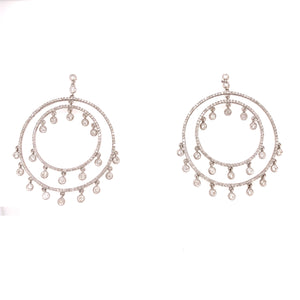 18k White Gold Double Circle 2.00ctw Earrings