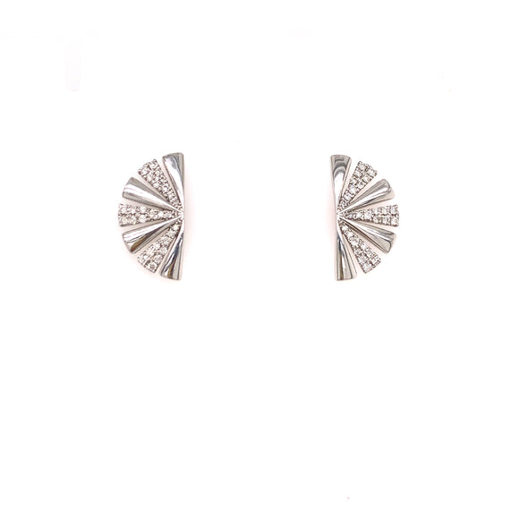 18K White Gold .38CTW Fan Diamond Earrings