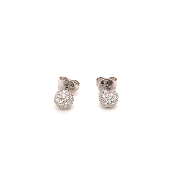 18K WG Diamond Ball Earring