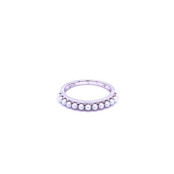 14 karat white gold pearl stackable band