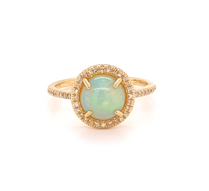 14 karat yellow gold 8 mm opal and diamond ring