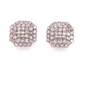 18 karat White Gold 3.75 carats Rose Cut Diamond Earrings