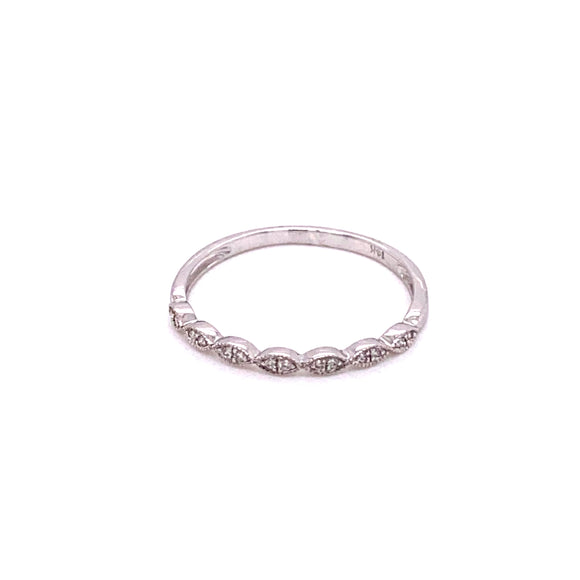 14 karet white gold 0.05 carat total weight bridal band