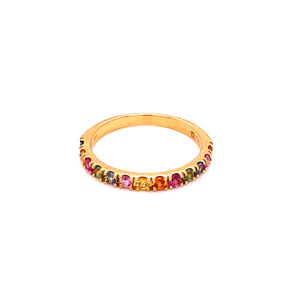 14 karat yellow gold multicolored sapphire band