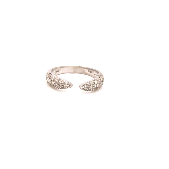 14 Karat White Gold Diamond Open Point Ring