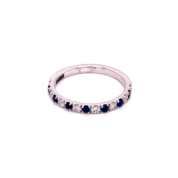14 karat white gold diamond and sapphire band