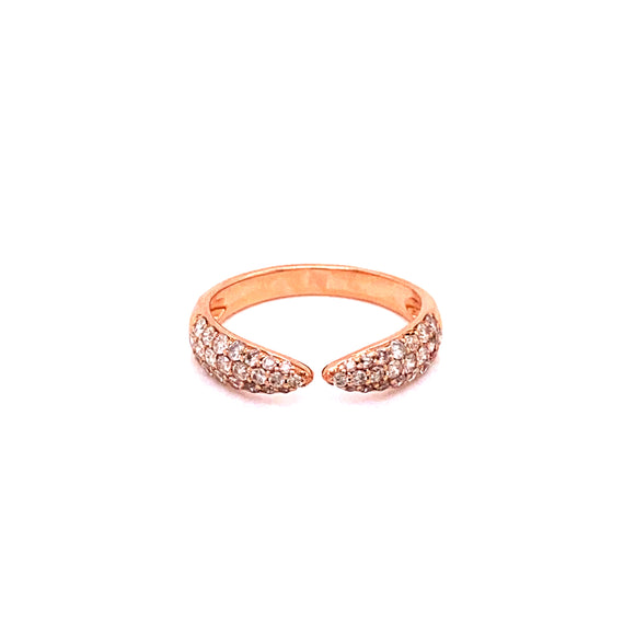 14 Karat Rose Gold Diamond Open Point Ring