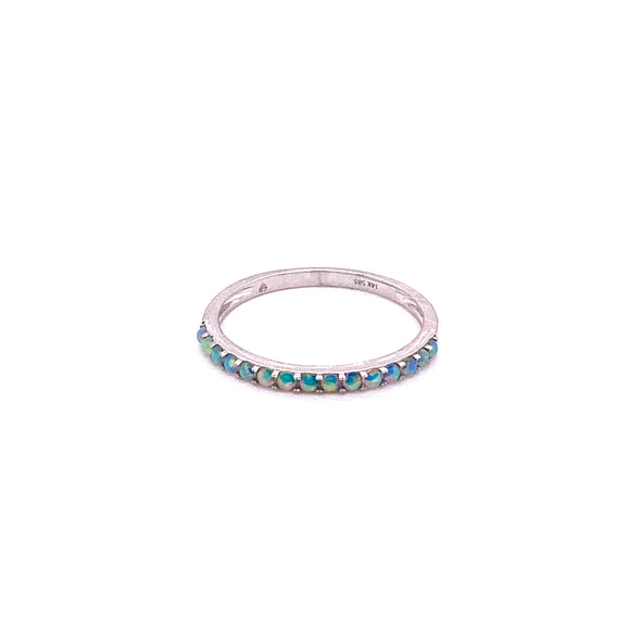 14K WG 0.21CTW Round Opal ring Sizeable