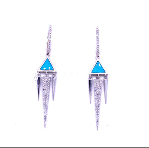 14K White Gold 0.28CTW Turquoise & Diamond point dangle earrings