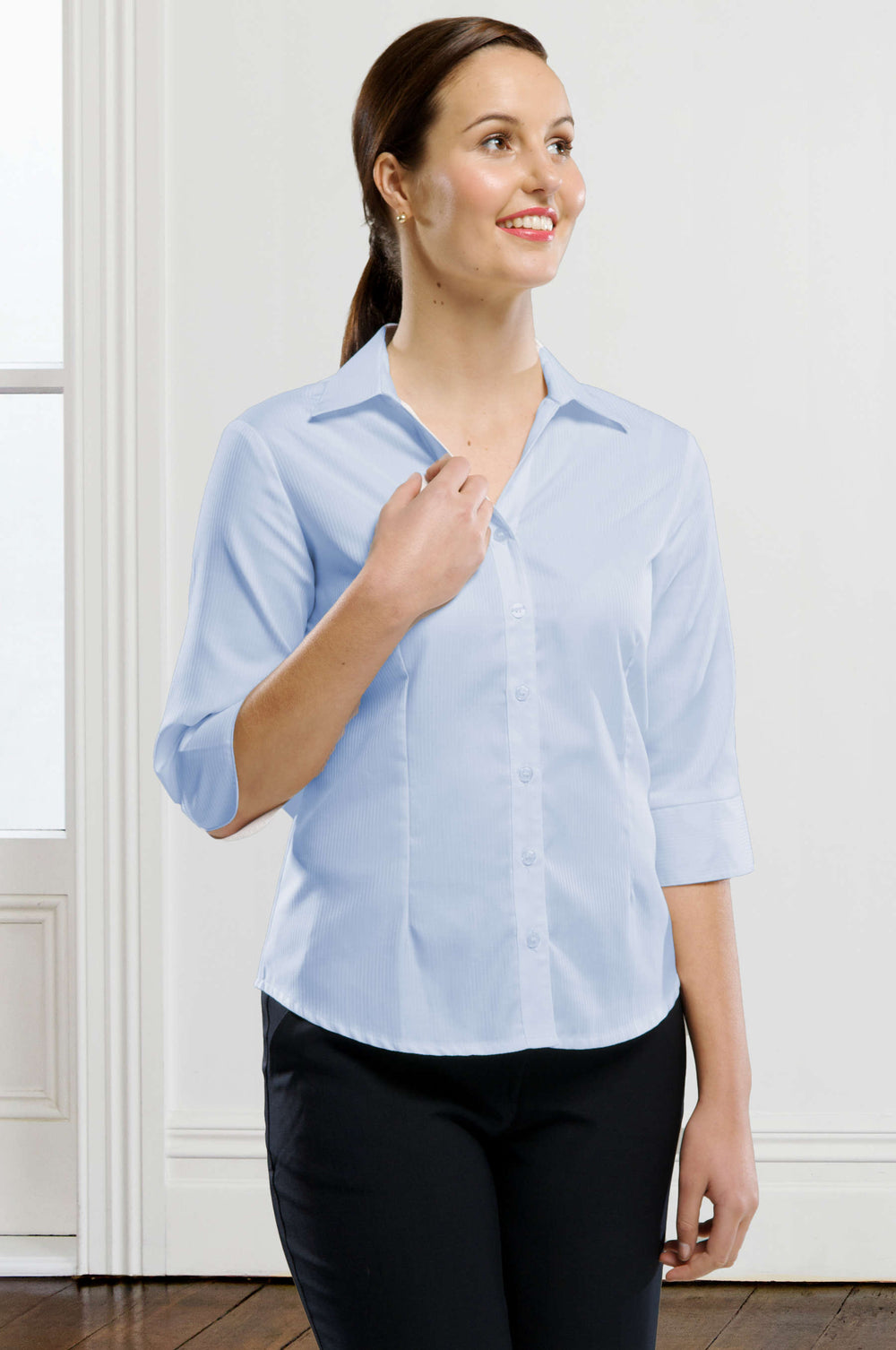 Self-Stripe Wrinkle Free Blouse 3/4 Slv