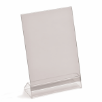 A4 angled menu holder, portrait or landscape, base & PVC top