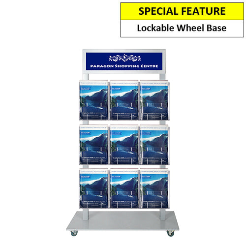 Foyer stand, double sided silver, header + 9 A4 Holder