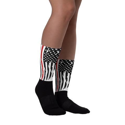 Fallen Firefighter Thin Red Line Distressed Flag Socks
