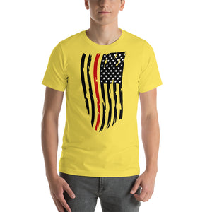 Adult Fallen Firefighter Thin Red Line Distressed Flag - Short-Sleeve Unisex T-Shirt