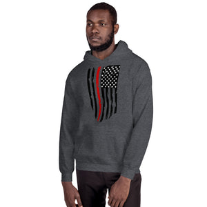 Fallen Firefighter Thin Red Line Distressed Flag - Unisex Hoodie