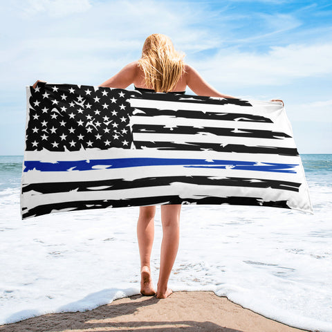 Image of Fallen Hero Police Thin Blue Line Flag - Towel
