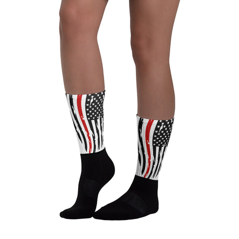 Image of Fallen Hero Firefighter Thin Red Line Flag - Socks