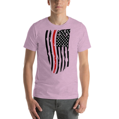Image of Adult Fallen Firefighter Distressed Flag - Short-Sleeve Unisex T-Shirt