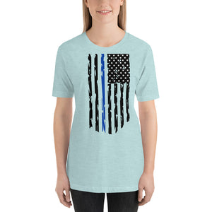 Fallen Hero Police Thin Blue Line Flag - Short Sleeve Unisex
